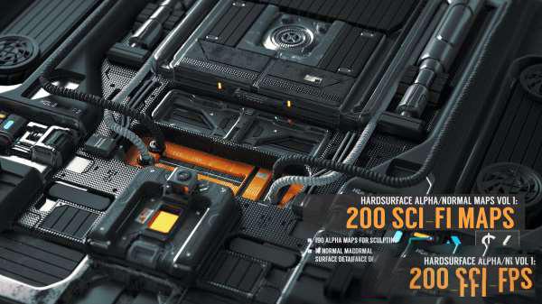 科幻风格硬面法线贴图预设 Artstation – Hard Surface Alpha & Normal Maps Vol.1: 200 Sci-fi Maps插图