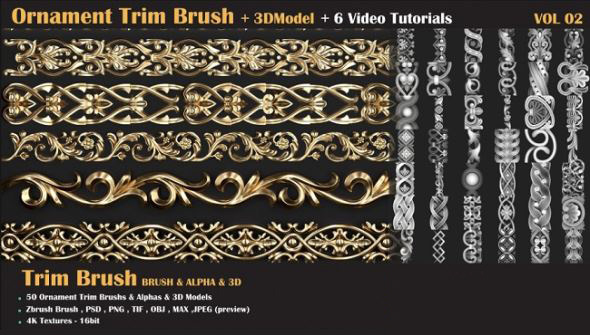 建筑雕花浮雕贴图笔刷预设模型 Artstation – Ornament Trim Brush and 3D Models + 6 Video Tutorials-VOL 02插图