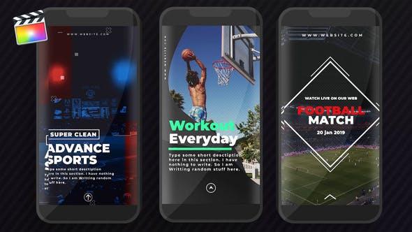 FCPX插件-25个竖屏图文包装封面设计动画 Sports Instagram Stories