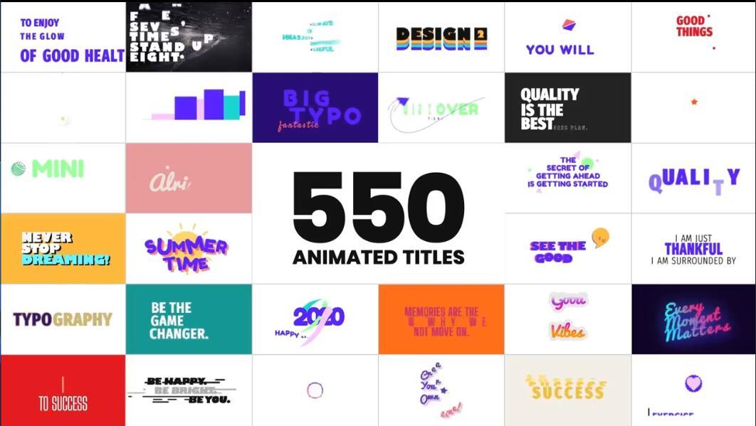 AE/PR脚本插件-550种现代时尚公司商务网络社交电视广播文字动态排版标题字幕条动画插图