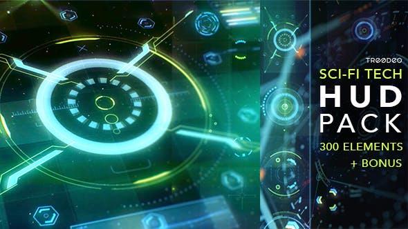 AE模板-300个未来科技感HUD信息图表UI界面元素动画 HUD Sci-Fi Infographic插图