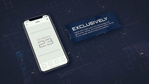 AE模板-苹果iPhoneX手机APP应用介绍科技感动画片头Digital App Promo – iOS