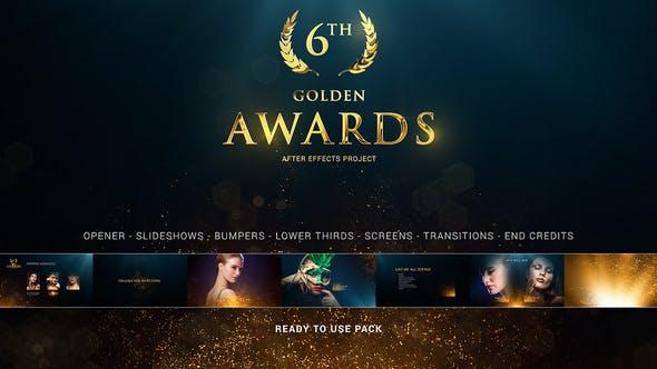 AE模板-金色粒子发散过渡叠加颁奖典礼栏目包装 Awards Pack