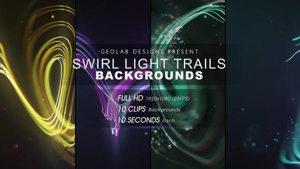 视频素材-10组抽象漂亮彩色粒子线条背景叠加动画 Swirl Light Trails Backgrounds